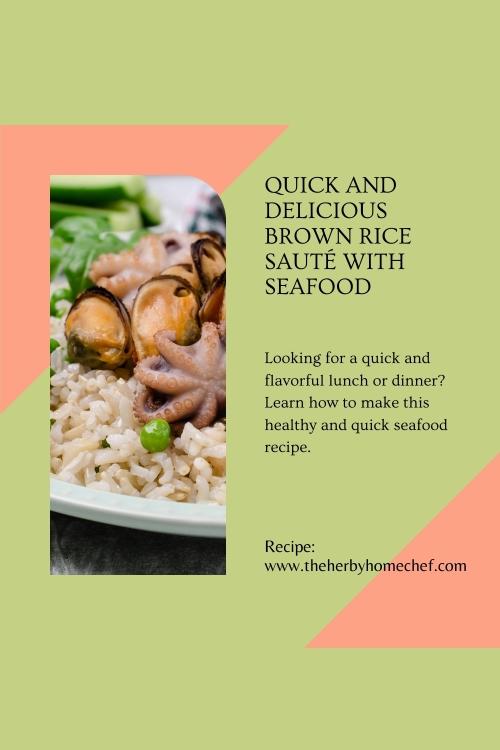 seafood sauté and brown rice Recipe pinterest image